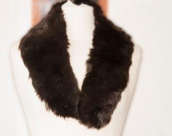 Brown vintage 1940-1960 coat fur collar