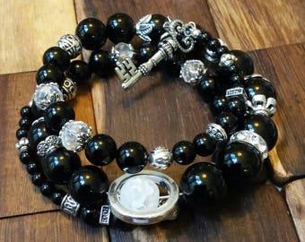 Onyx & Silver Key Charm Wrap Bracelet