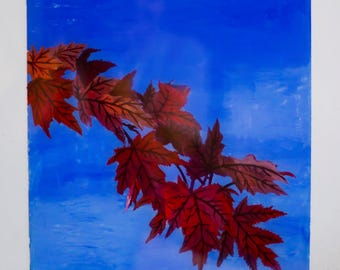 Fall leaves- reverse glass painting
