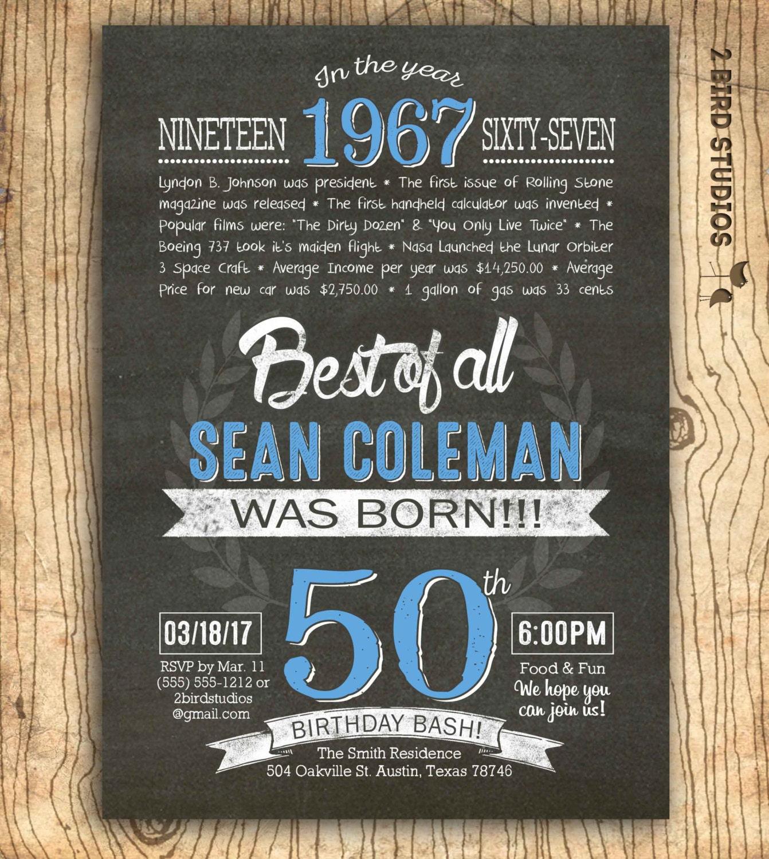 50th Birthday Invitation Surprise 50th Birthday Invite 50th