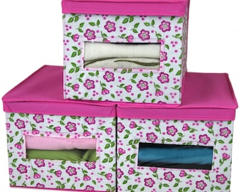 Set of 3 - Closet Organizer Box with See Through Window for Sweaters Linens Floral Design