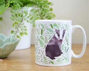Badger Ceramic Mug, Badger Coffee Mug, Tea Cup, Coffee Cup, Coffee Lover, Ceramic Cup, Botanical Mug, Badger Gift