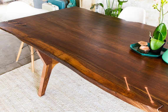 Walnut Live Edge Dining Table Conference Harvest Modern Farmhouse TableThe April