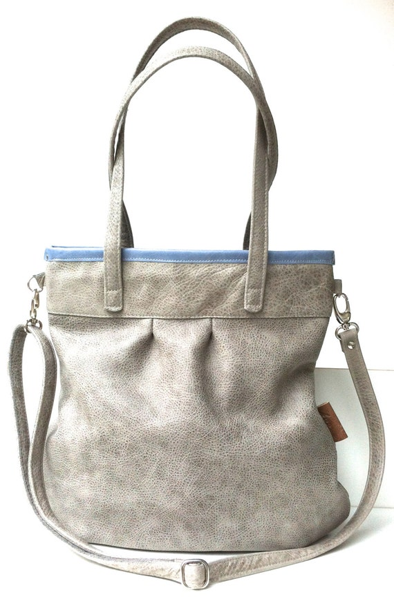 Leather tote bag,grey leather shopper,large leather bag,cross body bag