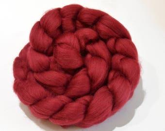 Merino Wool Combed Top - Maroon - Spinning - 100 grams