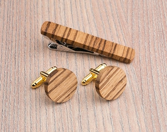 Wooden tie Clip Cufflinks Set Wedding Zebrano Round Cufflinks. Wood Tie Clip Cufflinks Set. Mens Wood Cuff Links, Groomsmen Cufflinks set.