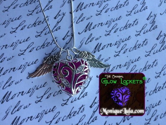 Purple Flying Glowing Heart With Rose Wings Violet Glow