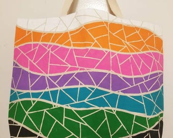 Hand painted tote - Mosaic Wavy stripes