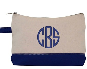 Monogram Make Up Bag - Monogrammed Makeup Canvas Bag - Monogrammed Make Up Bag - Personalized Travel Bag -Monogram Bridesmaids Gift, NAVY