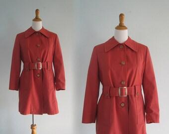 London Fog Trench - Mod 60s Trench Coat in Terra Cotta Red - Vintage London Fog Coat - Vintage 1960s Trench Coat M L