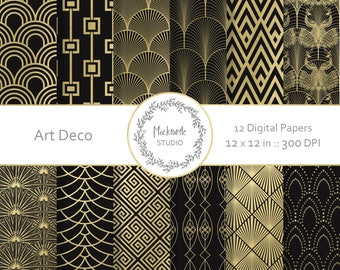 Art Deco digital paper - Art Deco clipart - Scrapbook paper, Art Deco Digital Paper, Art Nouveau Digital Paper, Commercial use