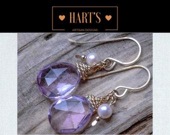 Pink Amethyst Teardrop 14K Gold Dangle Earrings