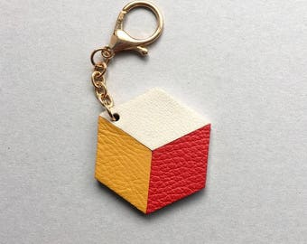 Geometric bag charm / keychain 3D Hexagon ( the CUBE ) made from red gold, yellow and whiteleather. Gift under 20