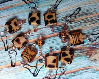 Set of Convertible Knitting and Crochet Stitch Markers in Glass Safari