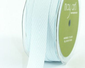 Light Blue Chevron Twill Ribbon . 5 yards (15 feet) . 3/4 inch