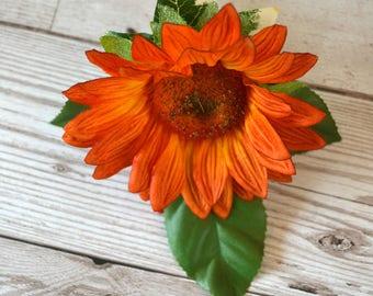 Wedding Orange Sunflower buttonhole.corsage.gents buttonholes,ladies buttonhole.Rose leaves.ivy leaf. Jute twine stem.pearl head pin