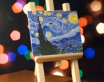 """Picture oil by Vincent van Gogh """"Starry night"""" (Mini Replica) + wooden easel"""