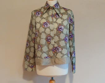 Vintage 1960/70s Mamut Pastel Floral Cropped Shirt