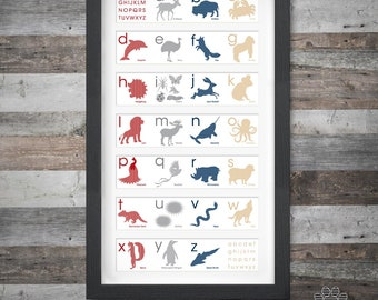 Secondary Animal Alphabet Poster. Animal Prints. Letter Art. Alphabet Art. Animal Alphabet. Children's Wall Art. Nursery Art.
