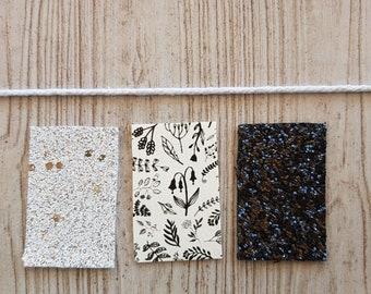 Floral   Black   White   Set of 3 Snap Clips
