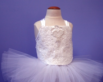 Baby Crop Top #502,  upcycled from a vintage wedding gown, Infant Photo Prop