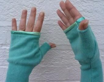 Green wool fingerless gloves texting mitts Eco-friendly handmade fingerless mittens green winter gloves sea green handwarmers texters gift.