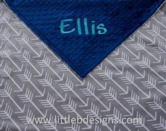 Personalized Minky Blanket - Gray Arrow Minky with Navy Minky Dot - Baby Blanket
