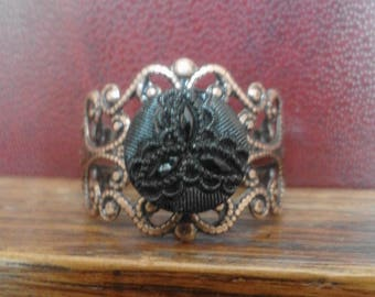Victorian large copper filigree and carved Jet cabochon ring