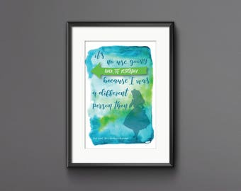 Alice in Wonderland Print, Alice in Wonderland Poster, Lewis Carroll Print, Alice in Wonderland Quote Print, Gift for a Friend