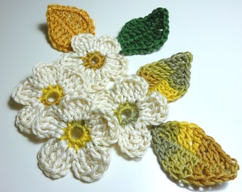 set flowers, leaves and green and ecru crochet bow