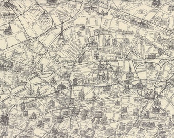 Paris map cotton fabric from the destination paris collection by passport paris map in parchment and charcoal 3 sisters moda fabrics 100 cotton fabric 3736 26 gumiabroncs Image collections