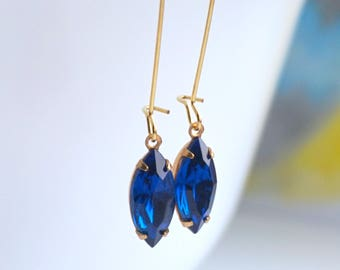 Sapphire Dangle Earrings, Blue Crystal Earrings With Gold, Boho Earrings, Drop Earrings Bohemian Earrings Chandelier Long Earrings Gift Idea
