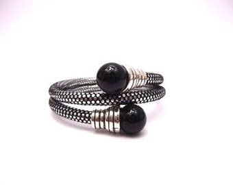 Bracelet Kit double round black Hogwarts and its ends with black onix