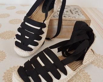 Lace up espadrilles, Vegan shoes, Black and beige sandals, boho shoes, wedges espadrilles, beach sandals, hippie shoes, organic cotton