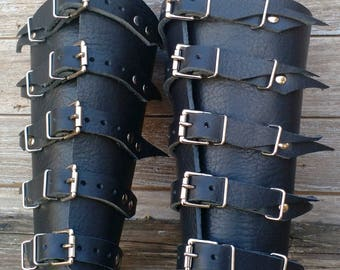 Black Leather Barbarian Bracers with Primitive Top Straps, Nickel Hardware