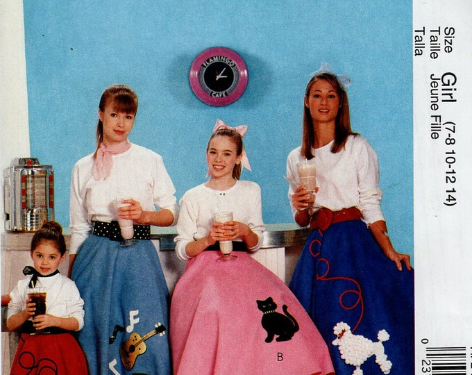 FREE US SHIP Sewing Pattern McCall's 247 6101 Halloween Costume Poodle Skirt Sock Hop Rockabilly Cat Dog Size 3 4 5 6, 7 8 10 12 14 Uncut