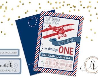 Vintage Airplane Birthday Invitation with Stripes - DIY, Printable