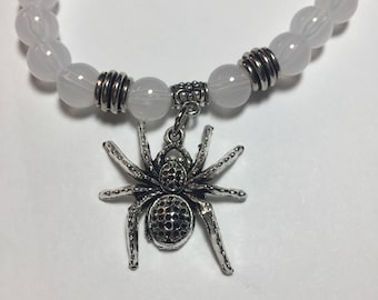 Cats Eye Beaded Necklace with Spider Charm