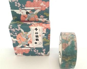 Washi tape, washi tape masking tape 15 mm x 7 m, cranes birds theme