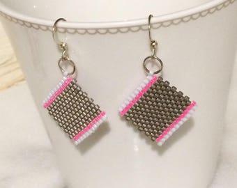 Brickstitch tri-color square earrings