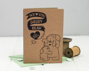 Daddy Bear Father's Day Card - Birthday Card for Dad - Card for Dad - Daddy Bear - Personalised Card