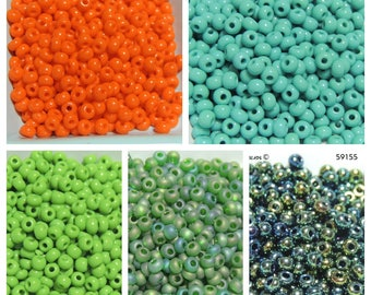 Size 6 seed beads Solid colors 25 grams Bright Orange, Pea Green, Green Matte AB, Green Iris, Green Turquoise, Choice