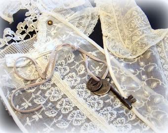 Set of two lace yokes, bodice, vintage, old, romantic, feminine