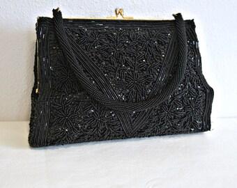 Beaded Handbag Vintage Black 1950's 1960's Hong Kong Hand Beaded Evening Bag