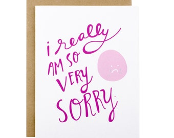 Sympathy Card - Sorry Card - Apology card - Im sorry - So Very Sorry