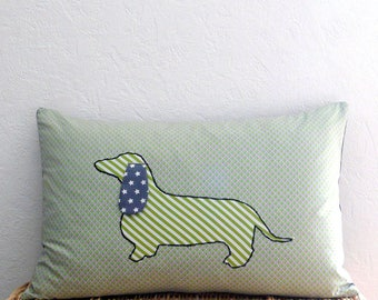 Dog pillow cover - bottom small graphic gray/green