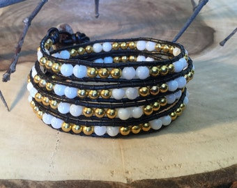 Shell and leather wrap bracelet