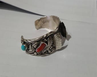 Navajo Sterling Watch Cuff signed EJ