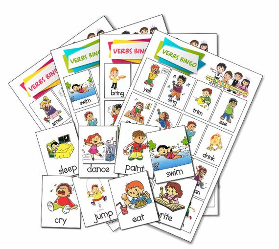 loter u00eda verbos    acciones en ingles para imprimir printable