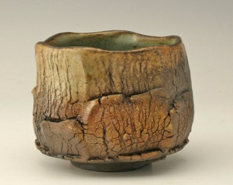 Tea bowl with crackle pattern, yellow and brown yunomi, small chawan with wood fired look, rustic ceramic cup, Japanese tea bowl, Shikha